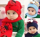 Lovely Knitted Beanie Hat & Scarf for Baby Toddler Boys Girls Ladybug Bee Cap