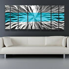 Metal Wall Art Blue Modern Contemporary Abstract Sculpture Painting Home Decor L