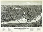 6084.Chippewa-falls,Wis.1886 aerial POSTER.Bird eye view map.Home room interior