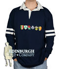 LONG SLEEVE COTTON RUGBY SHIRT..6 NATIONS BADGES DESIGN..NAVY..SIZES!