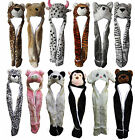 X83 LADIES KIDS TEENS LONG ANIMAL HAT HOOD SCARF POCKET SOFT FLEECE LINED SNOOD