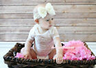 Infant Newborn Baby White Rose Print See through Jumpsuit Gauze Romper NB-12M