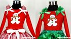 Xmas Gingerbread​ Hot Red Long Sleeve Pettitop Tank Top With Ruffles Bow NB-8Y