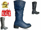 NEW WOMENS LADIES STUDDED MID CALF BIKER  THICK HEEL WINTER SNOW BOOTS SIZE