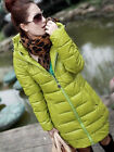 Womens Candy Long PU Leather Warm Down Cotton Coat Jacket Hooded Outerwear 1897#