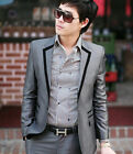 USSA03 New Men's Dress Business/Casual One Botton Slim fit Complete Suits 2Color