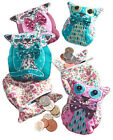 Owl or Cat Zip Coin Purse  Embroidered Fabric - Pink or Turquoise Fair Trade NEW