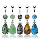 316L Surgical Steel Navel Dangle with Prong Set Semi Precious Stone Tear Drop