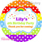 1x A4 Sheet Personalised BIRTHDAY PARTY bag labels STICKERS rainbow party