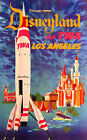 "Vintage Travel Art -Disneyland, Los Angeles Fly TWA - 24""x36""  Print on Canvas"