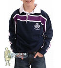 KIDS' LONG SLEEVE COTTON RUGBY SHIRT - SCOTLAND PURPLE STRIPE - SIZES 0-14YRS!