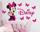 Minnie Mouse Personalised girls bedroom wall sticker kit, childrens stickers