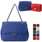 WOMEN'S HANDBAG CLASSIC QUILTED LARGE FLAP SHOULDER CROSS BAG REAL COW LEATHER