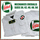 Castrol Classic White Mechanics Overalls w/ Logo Print front & rear