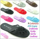 Womens Ladies Girls Infants Kids Flat Mesh Slipons Sandals Slippers in 9 Colours