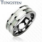 Tungsten Ring Mother of Pearl Double Inlay Size 5,6,7,8,9,10,11,12,13 (f17)