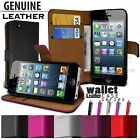 NEW REAL LEATHER WALLET CASE COVER FITS APPLE IPHONE 5 5G