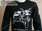 NEW Outline of a Ural Motorcycle Black Cotton Long-Sleeve T Shirt S-3XL