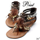 Womens Summer Gladiator Roman Feather Suede Thong T-Strap Flats Sandals Shoes
