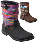 NEW Women's Tribal Thread Yarn Wrap Low Heel Mid Calf Buckle Boots BLACK BROWN
