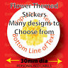 Personalised flower themed reward craft labels 30mm dia round stickers