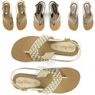 LADIES FLAT DIAMANTE TOE POST WOMENS PEARL HOLIDAY DRESSY PARTY SANDALS SIZE 3-9