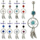 Dream Catcher Dangle Navel Belly Bar Gemstone Stunning Dreamcatcher 5 Colours UK