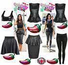 WOMENS WET LOOK PEPLUM SKATER SKIRT PVC LEGGING PEPLUM TOP LADIES WET LOOK TOPS
