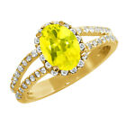 2.08 Ct Oval Canary Mystic Topaz White Sapphire 14K Yellow Gold Ring