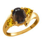 1.60 Ct Oval Brown Smoky Quartz and Citrine Gold Plated Silver Ring