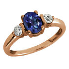 1.23 Ct Oval Tanzanite Blue Mystic Topaz and Topaz Gold Plated Silver Ring