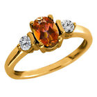 1.15 Ct Oval Ecstasy Mystic Topaz and Diamond Gold Plated Silver Ring
