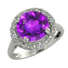 3.19 Ct Round Purple Amethyst and White Diamond Sterling Silver Ring