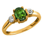 1.13 Ct Oval Green Tourmaline and Topaz Gold Plated Sterling Silver Ring