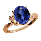 3.38 Ct Blue Created Sapphire Sapphire Rose Gold Plated Sterling Silver Ring