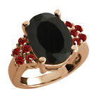4.69 Ct Oval Black Onyx Red Garnet Rose Gold Plated Sterling Silver Ring