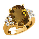 4.70 Ct Oval Whiskey Quartz White Topaz Yellow Gold Plated Sterling Silver Ring