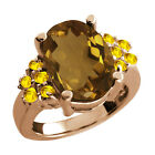 4.80 Ct Oval Whiskey Quartz Yellow Sapphire Rose Gold Plated Silver Ring