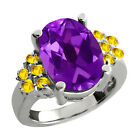 5.10 Ct Oval Purple Amethyst Yellow Sapphire Sterling Silver Ring