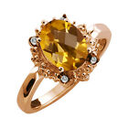 1.62 Ct Checkerboard Champagne Quartz and Topaz Rose Gold Plated Silver Ring