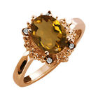 1.62 Ct Oval Whiskey Quartz and Topaz Rose Gold Plated Sterling Silver Ring