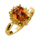 2.32 Ct Oval Ecstasy Mystic Topaz and Diamond Yellow Gold Plated Silver Ring