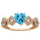1.22 Ct Swiss Blue Topaz White Diamond 925 Rose Gold Plated Silver Ring