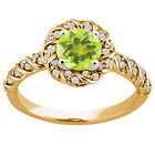 1.45 Ct Yellow Lemon Quartz White Diamond 925 Yellow Gold Plated Silver Ring