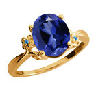3.38 Ct Oval Simulated Sapphire Topaz Gold Plated 925 Silver Ring