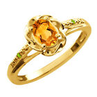 0.41 Ct Oval Yellow Citrine Green Peridot Yellow Gold Plated Silver Ring