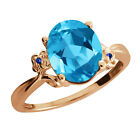 2.87 Ct Oval Swiss Blue Topaz Sapphire Rose Gold Plated Sterling Silver Ring