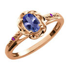 0.46 Ct Oval Blue Tanzanite Purple Amethyst Rose Gold Plated Silver Ring