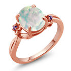 2.16 Ct Oval Cabouchon White Opal Amethyst Rose Gold Plated Silver Ring