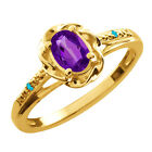 0.46 Ct Oval Purple Amethyst Swiss Blue Topaz Gold Plated Sterling Silver Ring